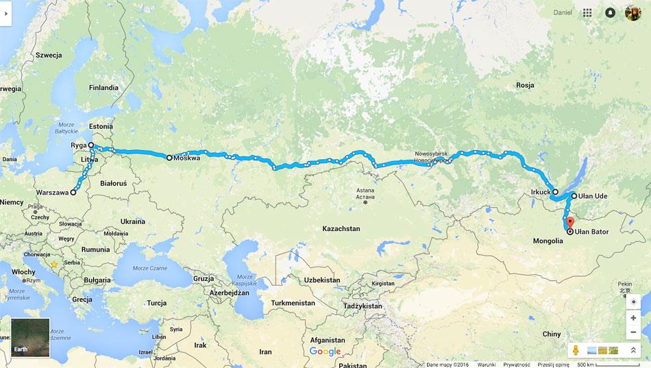 Trasa obejmuje Warszawę, Rygę, Moskwę, a także odcinek kolejątranssyberyjskądo Irkucka, następnie Buriację na Syberii i okolice Ułan Bator w Mongolii.
