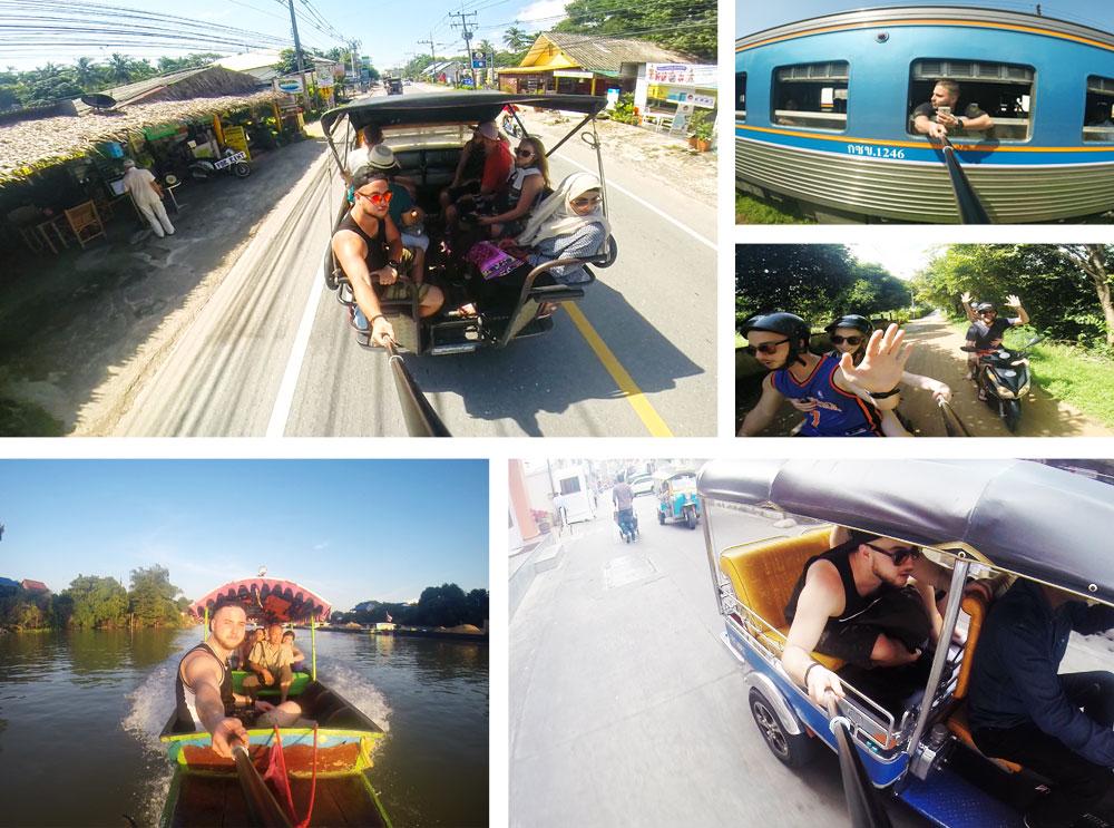 W Tajlandii można poruszać sięna wiele sposobów. Na wyspach najlepszą opcją transportu jest skuter, a w dużych miastach tuktuk lub taksówka. Na długich dystansach wskazany jest lot liniami AirAsia lub pociąg. Niekiedy z pomocą przychodzi łódź.