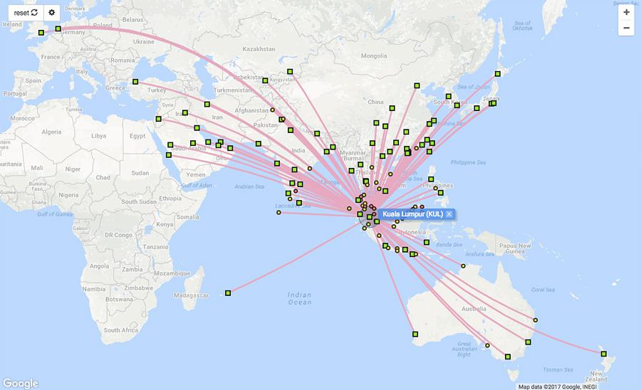 Kuala Lumpur jest międzynarodowym punktem lotniczym skąd można tanio dostać sięprawie każdego państwa Azji. Więcej symulacji na stronie: www.flightconnections.com.